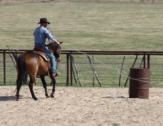 Tex with trainer Dale Kahl roping a barrel
